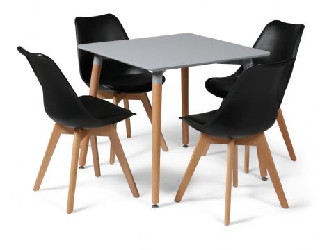 Toulouse Tulip Eiffel Designer Dining Set Grey Square Table & 4 Black Chairs Sale Now On Your Price Furniture